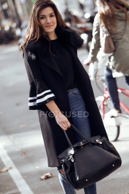 Woman posing in street. — Stock Photo