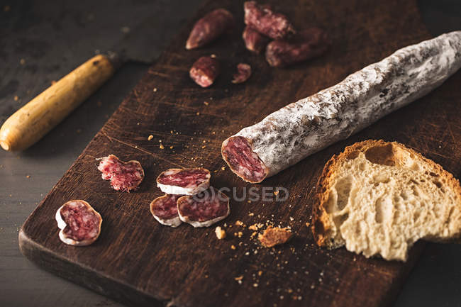 Типовий каталонський Fuet — стокове фото