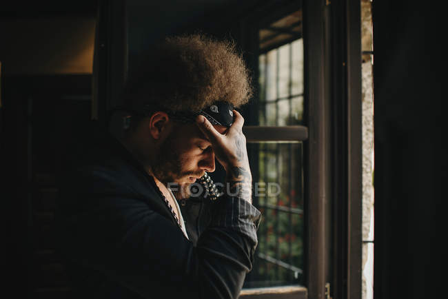 Sad man with afro hairstyle — Stock Photo