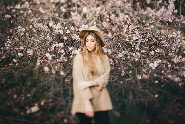 Молодая девушка против яблоня — стоковое фото