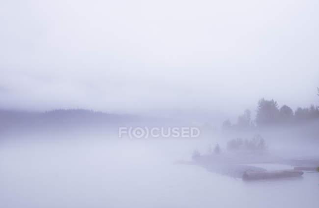 Silhouette of shore in fog — Stock Photo