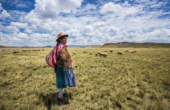 Vista lateral de la mujer indígena en ropa de tradición - foto de stock