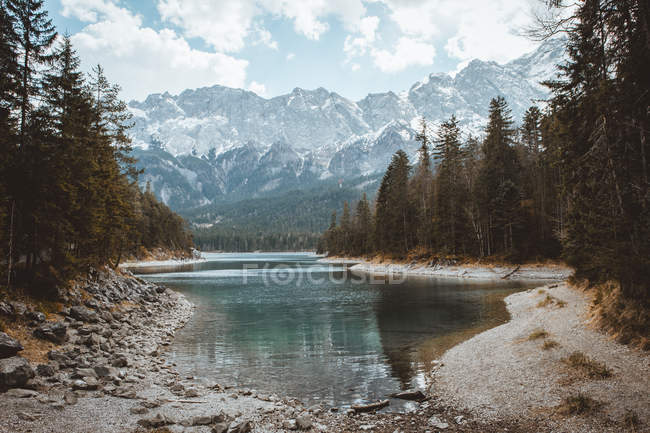 Stream of water and mountains — Stock Photo