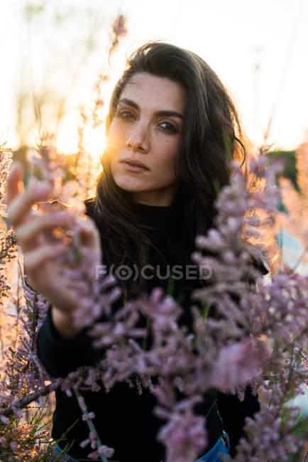 Female posing among fresh flowers — Stock Photo