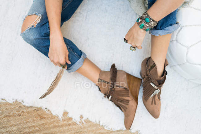 Trendy female in jeans — Stock Photo