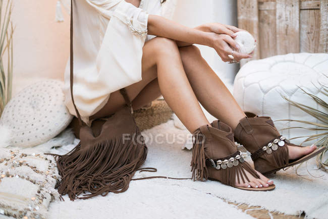 Trendy woman with summer clothes — Stock Photo