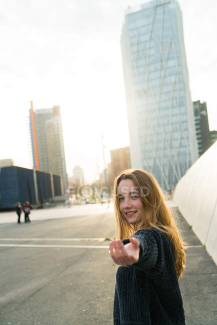 Woman gesturing follow me — Stock Photo