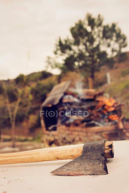 Bodegón de hacha acostado en el registro en la escena al aire libre - foto de stock