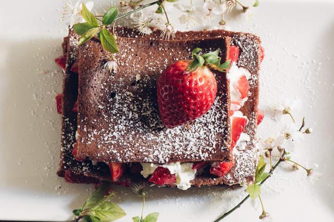 Os galhos vista diretamente acima da torta de morango caseira e florescendo — Fotografia de Stock