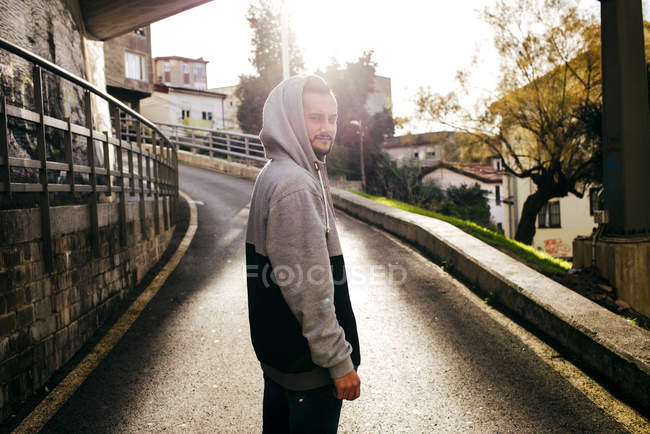 Side view of hipster man posing — Stock Photo