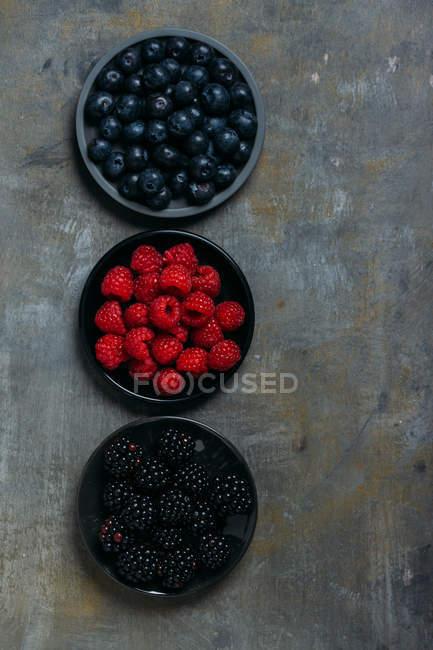 Frambuesas, moras y arándanos - foto de stock