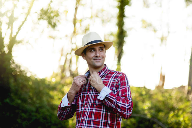 Cheerful man in park — Stock Photo