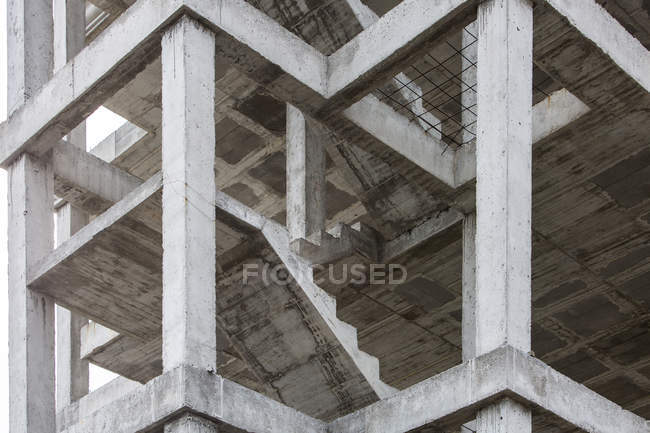High angle view of unfinished building with concrete staircases — Stock Photo