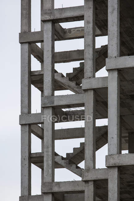 Exterior view of unfinished building with concrete staircases passages — Stock Photo