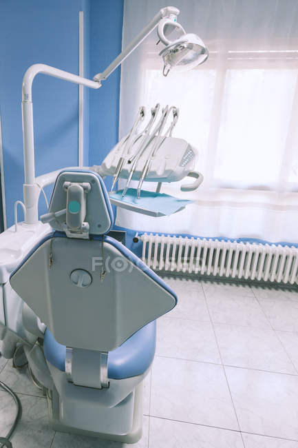Back view of empty dental chair at clinic Interior — Stock Photo