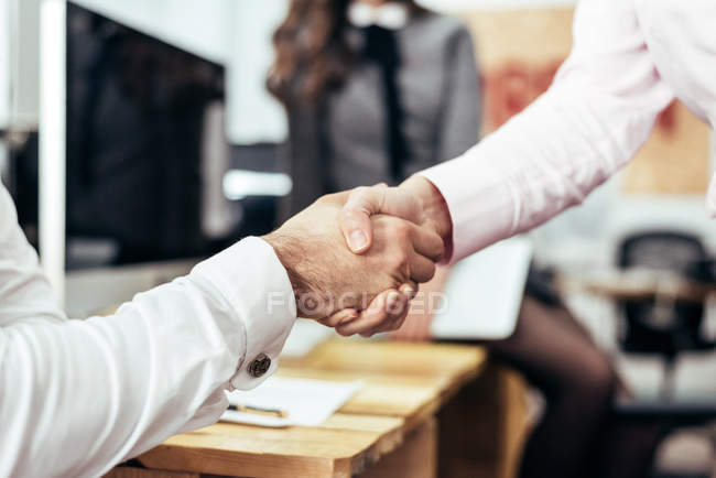 Partners shaking hands confirming deal at office — Stock Photo