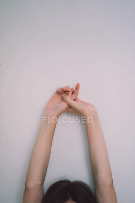 Crop female hands outstretched — Stock Photo