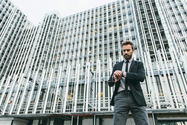 Successful Businessman in a Financial Area — Stock Photo