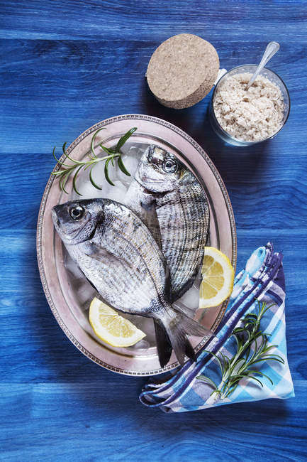 Two fresh fish with lemon and rosemary — Stock Photo