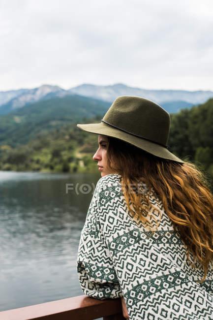 Trendy girl on nature — Stock Photo
