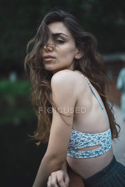 Tender young girl looking at camera — Stock Photo