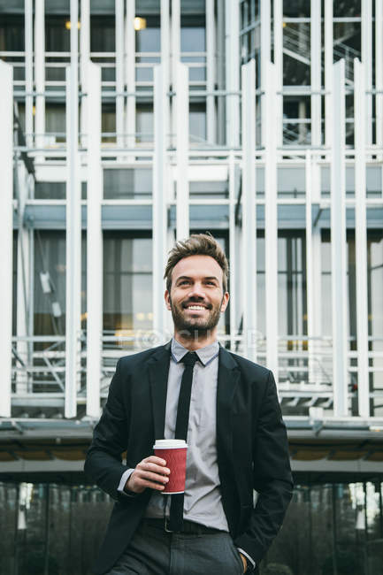 Handsome Businessman Drinking Coffee — Stock Photo