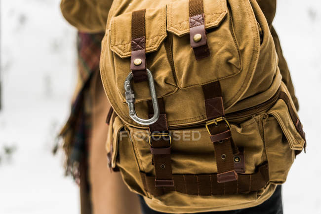 Tourist backpack made of fabric. — Stock Photo