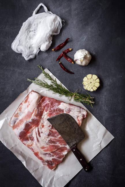 Bodegón de costillas de cerdo crudas con hierbas y especias listas para cocinar - foto de stock