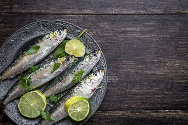 Top view of raw sardines with lime slices and parsley on metal plate — Stock Photo