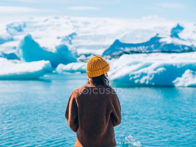 Дівчина стояла проти льодовиків — стокове фото