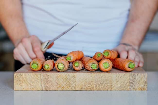 Personne qui prépare hacher les carottes — Photo de stock