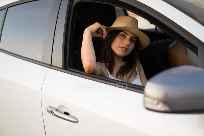 Pretty woman in a car — Stock Photo