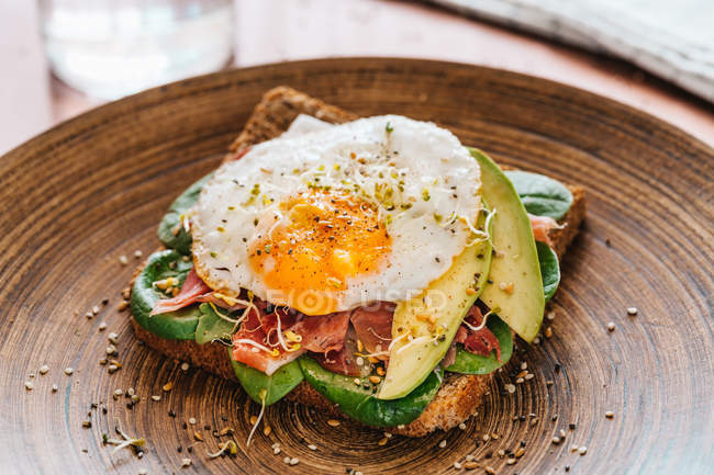 Tasty sandwich with egg — Stock Photo