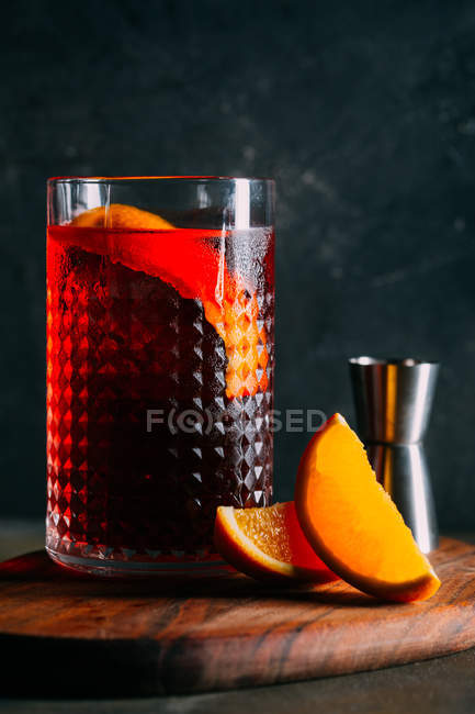 Negroni cocktail, old fashioned — Stock Photo