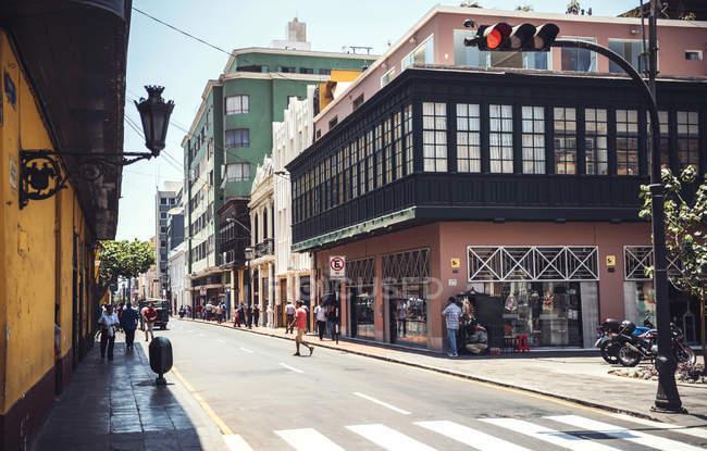 LIMA, PERU - DECEMBER 26, 2016: Scene of people walking at Main Square — Stock Photo