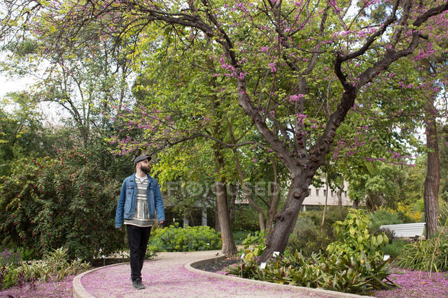 Young trendy mane walking on pathway in beautiful park and looking away — Stock Photo