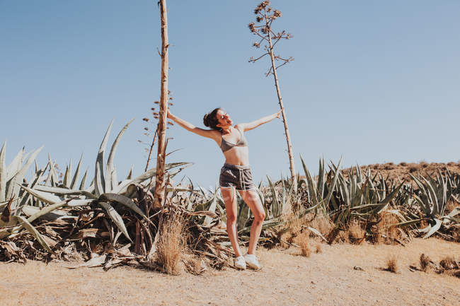 Young girl in bikini top and shorts holding trees in sunlight in desert — Stock Photo