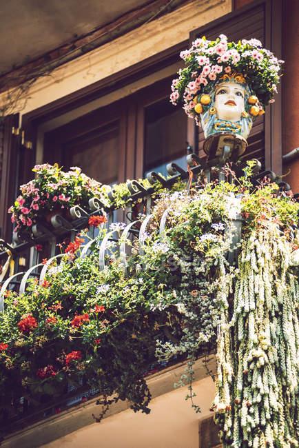 Vista de ángulo bajo del balcón decorado con macetas y máscara - foto de stock