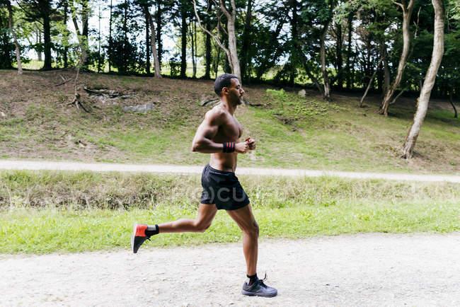 Bodybuilder man jogging in park. — Stock Photo