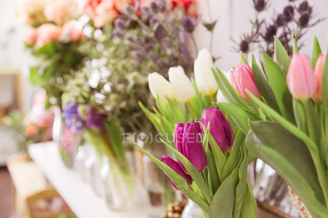 Gros plan de tulipes fraîches coupées colorées dans la boutique de fleurs — Photo de stock