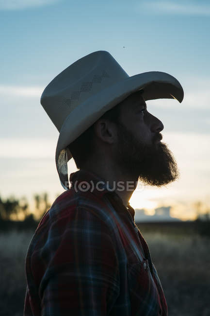 2866abe1cb6 Bearded man in cowboy hat posing at countryside in dusk — side view ...