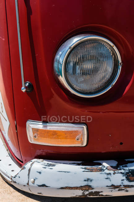 Close up view of shabby car's headlight — Stock Photo