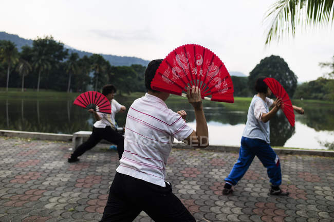MALAYSIA- April 6, 2016: Rear view of men in casual clothing training with fighting fans near lake — Stock Photo
