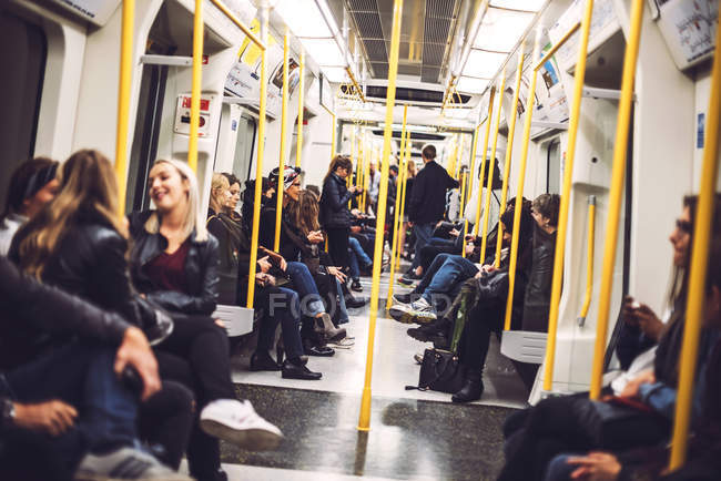 Inside view of a subway car — Stock Photo