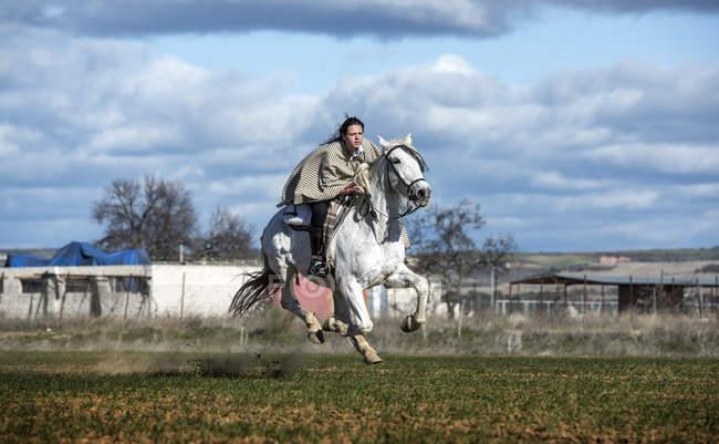 Вид сбоку женщины на лошадях, быстро мчащейся по сельскому загородному полю — стоковое фото
