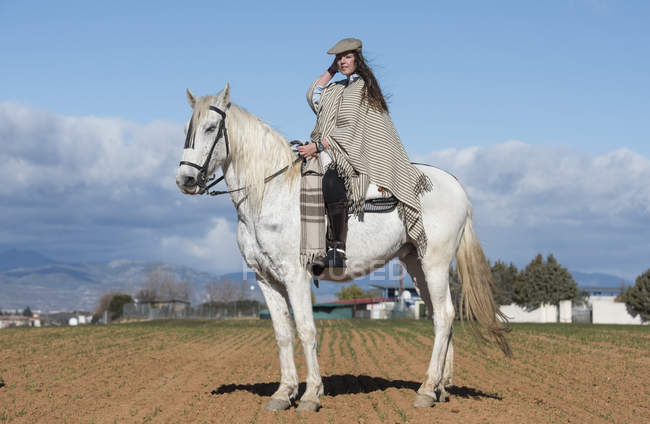 Вид сбоку женщины в шутливом костюме, позирующей верхом на лошади в загородном поле . — стоковое фото