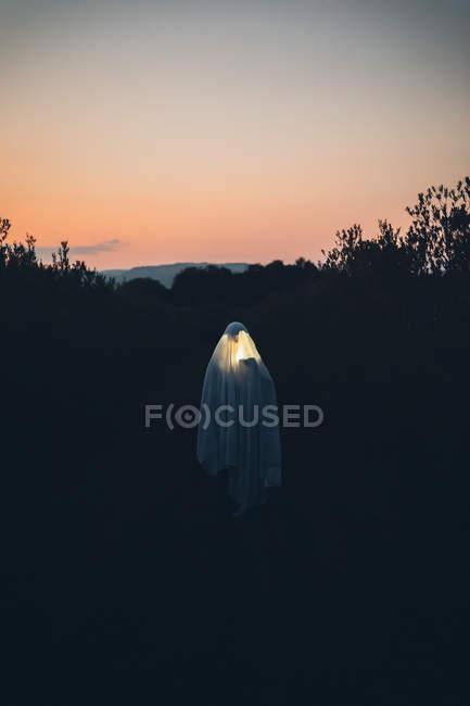 Portrait de fantôme errant contre le coucher du soleil rouge. — Photo de stock