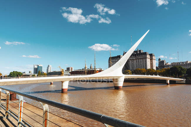 Exterior of Bridge of Woman pedestrian against summer sky — Stock Photo
