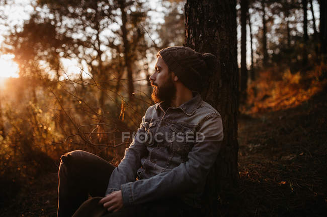 Man sitting in forest at sunset and looking aside — Stock Photo