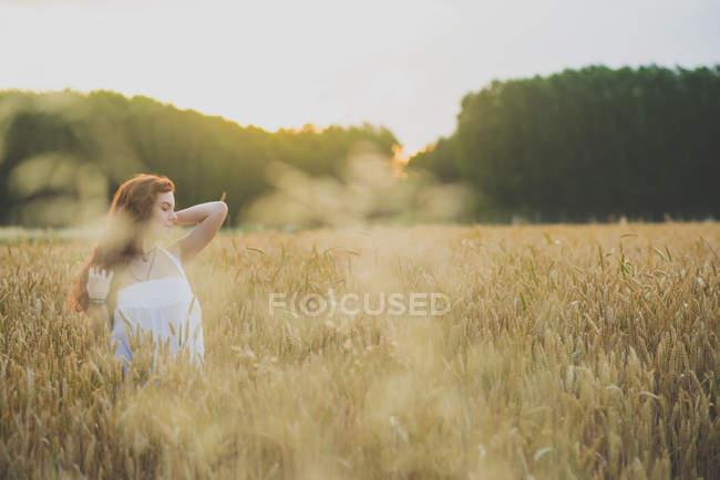 Портрет молодой рыжей девушки, позирующей на ржаном поле в лучах заката — стоковое фото